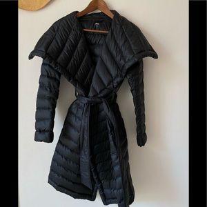 UNIQLO Soft Down Black Trench Jacket Sz Small